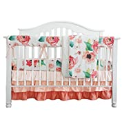 Boho Chic Coral Floral Ruffle Baby Minky Blanket Watercolor, Peach Floral Nursery Crib Skirt Set Baby Girl Crib Bedding (Coral)