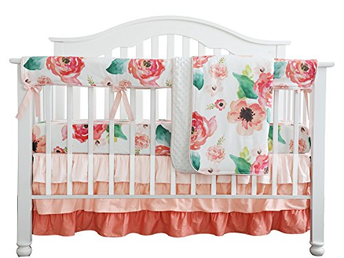 Baby Girl Crib Bedding Sets - Boho Chic Coral Floral Ruffle Baby Minky Blanket, Peach Floral Nursery Crib Skirt Set Baby Girl Crib Bedding (Coral)
