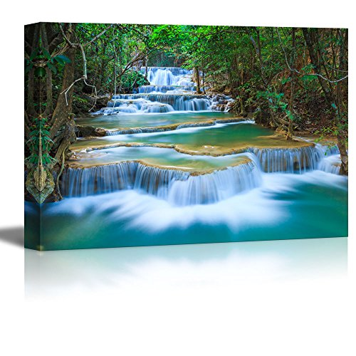 Canvas Prints Wall Art - Beautiful Scenery/Landscape Deep Forest Waterfall in Kanchanaburi, Thailand | Modern Home Deoration/Wall Decor Giclee Printing Wrapped Canvas Art Ready to Hang - 24