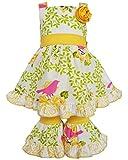 AnnLoren Tween Girls sz 11/12 Yellow Birds & Floral Dress and Capri Outfit