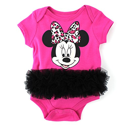 [Minnie Mouse Baby Bodysuit with Tulle Ruffle (3/6M, Animal Print Minnie)] (Minnie Mouse Outfit For Babies)