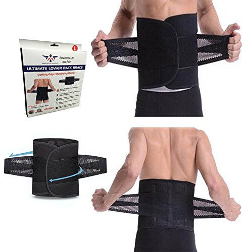 Armstrong Amerika Lower Back Brace Support Belt for Low Back Pain Relief Lumbar Belt to Help Treat Scoliosis & Sciatica Fix Spine Alignment Work Posture Sports or Gym Lifting Adjustable (Small)