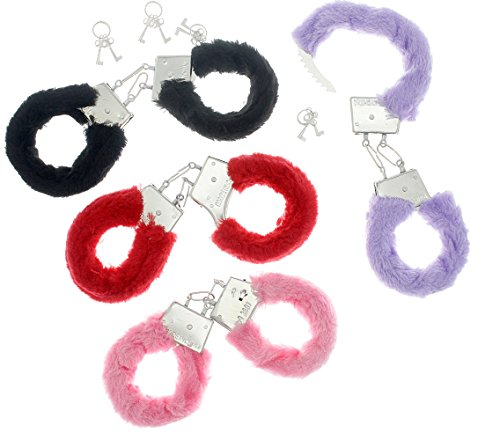 Fuzzy Furry Handcuffs Keys Colors