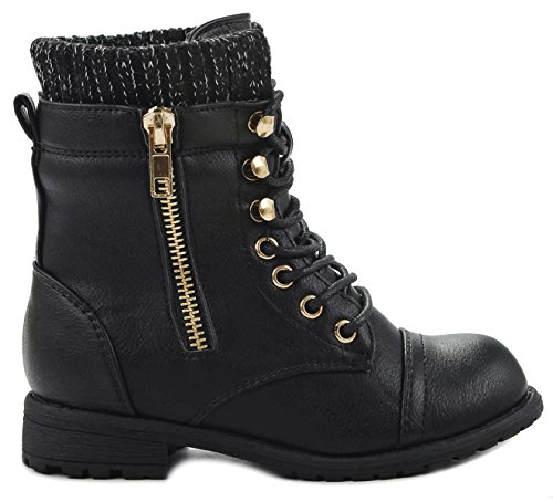 Kids Girls Bally Combat Lace Up Sweater Knit Cuff Golden Decor Zipper Ankle Boots