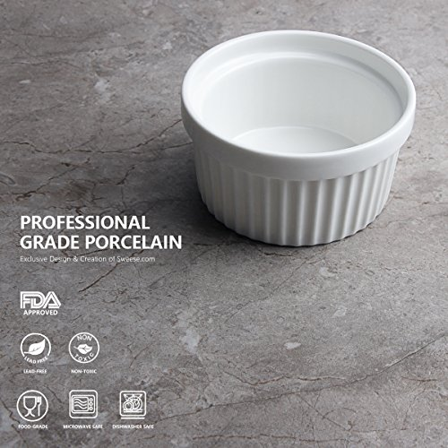Sweese 5105 Porcelain Souffle Dishes, Ramekins - 8 Ounce for Souffle, Creme Brulee and Ice Cream - Set of 6, White by Sweese (Image #2)