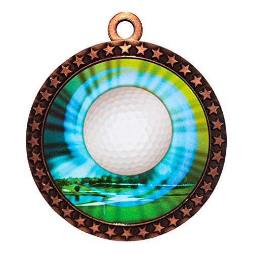 Express Medals Golf Bronze Medal Trophy Award with Neck Ribbon STDD212-MY425 50PK ()