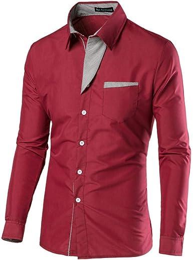 GQDP Camisa Masculina - Camisa de Manga Larga para Hombre, diseño de Cuadros, Tallas Grandes: Amazon.es: Ropa y accesorios