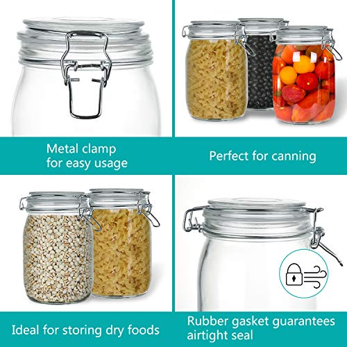 Wide Mouth Mason Jars, OAMCEG 4-Piece 1 L Airtight Glass Preserving Jars with Leak Proof Rubber Gasket and Clip Top Lids, Perfect for Storing Coffee, Sugar, Flour or Sweets - 8 Labels & 1 Chalk Marker by OAMCEG (Image #3)