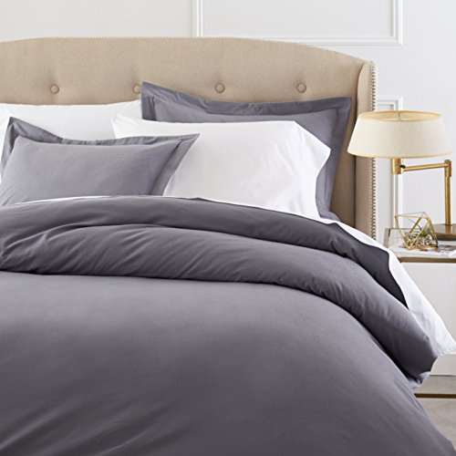 Pinzon Signature 190-Gram Cotton Velvet Flannel Full/Queen Duvet Set, Graphite (Flannel Comforter Cover)