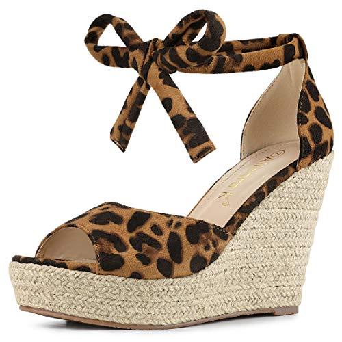 Allegra K Women's Espadrilles Tie Up Ankle Strap Wedges Leopard Sandals - 6 M US ()
