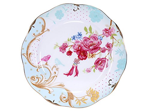 AWHOME Royal British Bone China Dessert Red Flowers Plates Fruit tray 7.8 inches