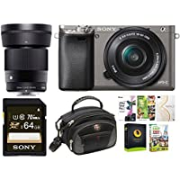 Sony a6000 Mirrorless Camera w/ 16-50mm and 30mm f/1.4 Lens Bundle Graphite