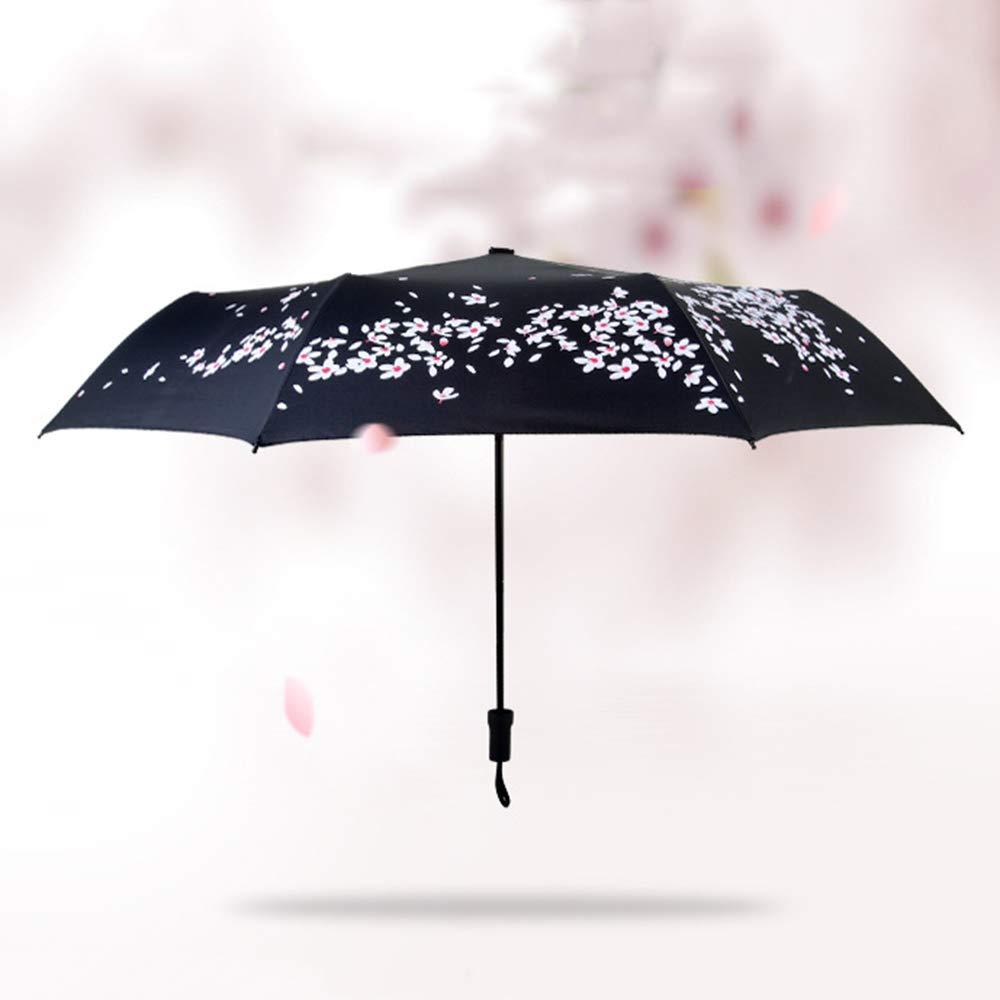 Flytian Parasol Pliant UPF50 + UV Taux De Coupe 100% Lumière du Soleil Réfléchissant Ombre Cool 3-Étape 8-Bone Main Parapluie Ouvert SEIU Parapluie Cerise Romantique avec Facile À Porter