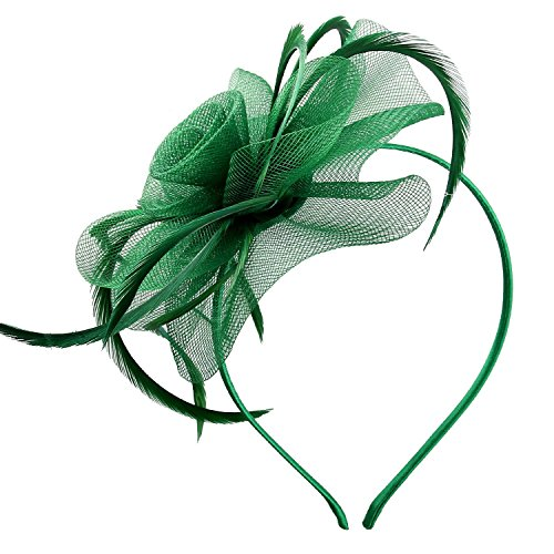 Acecharming Fascinators for Women, Feather Sinamay Fascinators with Headbands Tea Party Pillbox Hat Flower Derby Hats, Style 1 Olive Green, One -