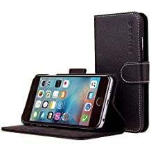 iPhone 6 Case, SnuggTM - Black Leather Wallet Cover and Stand with Card Slots & Soft Premium Nubuck Fibre Interior - Protective Apple iPhone 6 Flip Case - Includes Lifetime Guarantee