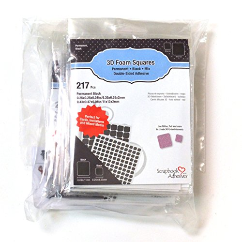 SCRAPBOOK ADHESIVES BY 3L 3L Scrapbook Adhesive Permanent PreCut, Mixed Variety, 217pk, Black Set of 10, Pre-Cut 3D Foam Square, (Pack of 10)