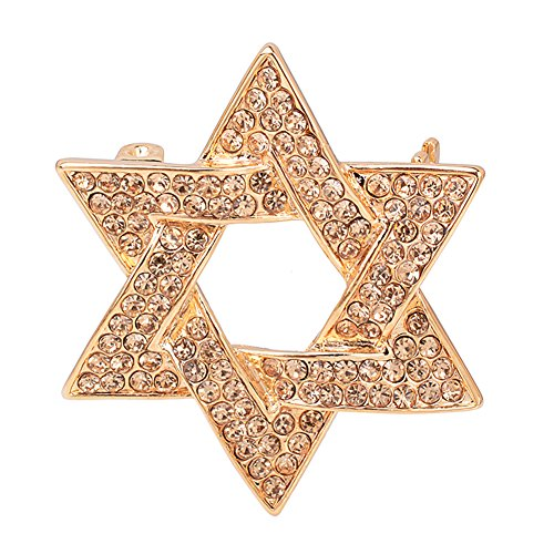 Pin Game Star All (OBONNIE Gold Rhinestones Crystal Hexagram Women Men Brooch Pin Star of David Badge Wedding Party Jewelry (Gold))