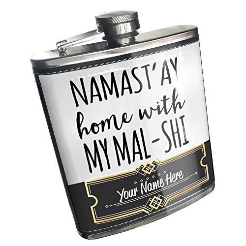 Neonblond Flask Namast'ay Home With My Mal-Shi Simple Sayings Custom Name Stainless -
