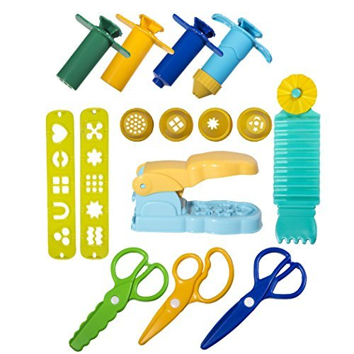 Strokes Art Durable Clay and Dough Tools 15 Piece Set Extruder Factory Shapes With Scissors - Create Hours Of Creativity - Ages 3 & Up - Includes Handy Storage Bag by Strokes Art Supplies