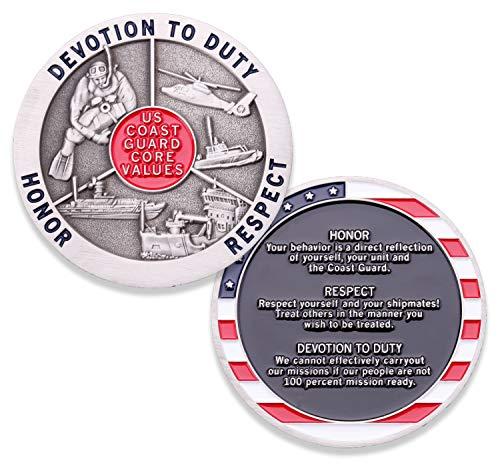 Us Coast Guard Challenge Coin - Coast Guard Core Values Challenge Coin - United States Coast Guard Challenge Coin - Amazing US Coast Guard Military Coin - Designed by Military Veterans!