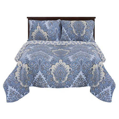 Impressions Superior 100% Cotton, Soft, 3-Piece Full/Queen Chatham Quilt Set, Blue