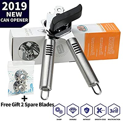 Can Opener Manual,Food-Safe Stainless Steel Can Openers Fit for Veriety Cans,Built in Bottle Opener with Easy Turn Big Knob and Ergonomic Anti Slip Handles,Ideal for Seniors and Arthritis