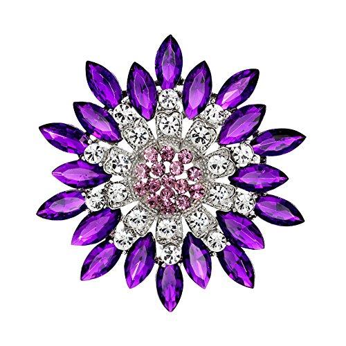 Lightclub Women Fashion Flower Brooch Crystal Rhinestone for Wedding Party (Dark Purple) ()