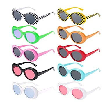Amazon.com: 10 pares de gafas de sol retro Clout ovaladas ...