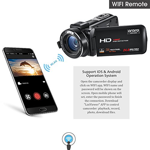ORDRO Wifi Camcorder 1080P Full HD Digital Video Camera with
