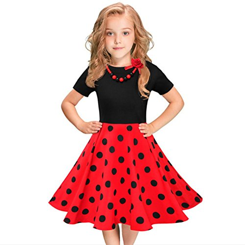 (Girls 50s 'Audrey' Vintage Swing Rockabilly Retro Party Dress for Kids Hepburn Patchwork Polka Dots Costume Short Ball Gown #3-Black&Red Dots+Necklace 8-9 Years)