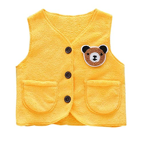 Foutou 2-6 Years Old Kids Baby Animal Coral Velvet Jackets Toddler Solid Color Warm Waistcoat Sleeveless Coat (6T, Yellow)