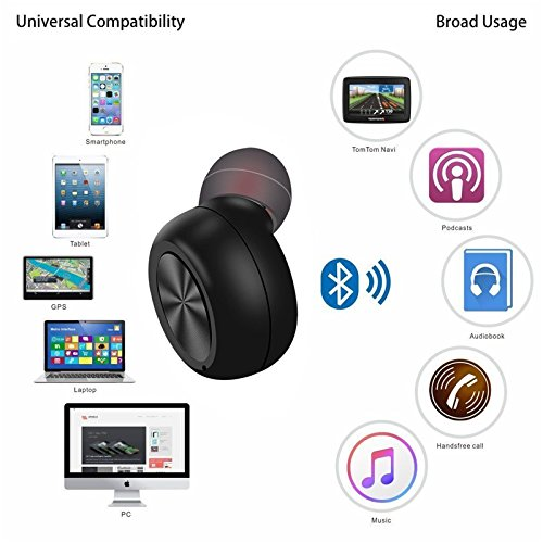 Mini Wireless Earbuds, Cherry Bluetooth Headphone Sport Earbud 6 Hours Music Talking Time Hands Free Call with Mic Magnetic USB Charger Headset for LG iPhone Samsung Galaxy One Piece - Black