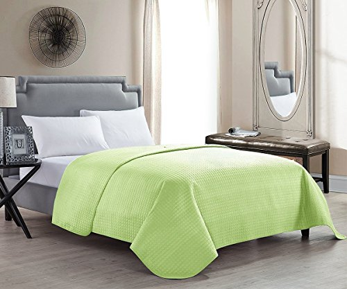 Full Color Throw - HollyHOME Solid Color Washed Bedspread Quilt for Full/Queen Size Bed, Lime Green