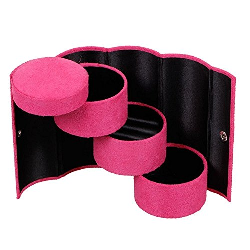 Fantasee Portable Travel Jewelry Storage Case Earring Hair Tie Box Holder Velvet Three-Layer Roll-up Cylinder Shape with Snap Closure (Rose ()