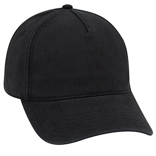 OTTO Garment Washed Superior Cotton Twill 5 Panel Low Profile Dad Hat - Black
