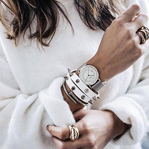 a.b.art FD36-101-6S Women's Fashion Wrist Watch Date Display Watch Silver tone (Mesh bracelet steel-Steel) by a.b.art (Image #4)