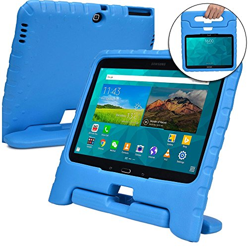 Cooper Dynamo [Rugged Kids Case] Protective Case for Samsung Tab 4 10.1, Tab 3 10.1 | Child Proof Cover with Stand, Handle | SM-T530 T531 T535 (Blue) ()