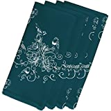 4 Piece Teal Napkin (19''), Contemporary Style, Polyester Material, Birds Floral Print Pattern, Decorative Table Top Napkin Type, Suitable For Everyday, Special Occasions, Dark Aqua