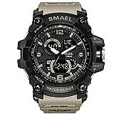 #7: SMAEL Men's Sports Analog LED Digital Wrist Watch Dual Quartz Movement Military Army Sport Watch Water Resistant (Beige)