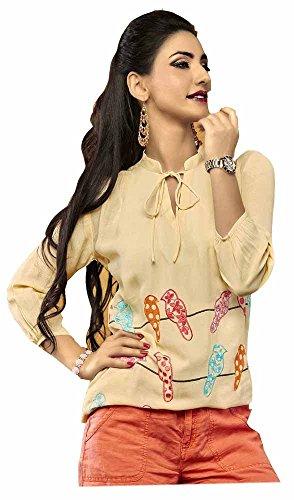 Jayayamala Femmes Sandale Coton Tunique brodée Blouse / Taille grande tunique / Longueur moyenne de la cuisse Blouse