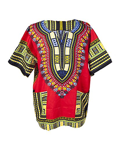 Lofbaz Traditional African Print Unisex Dashiki Size XS Red by Lofbaz