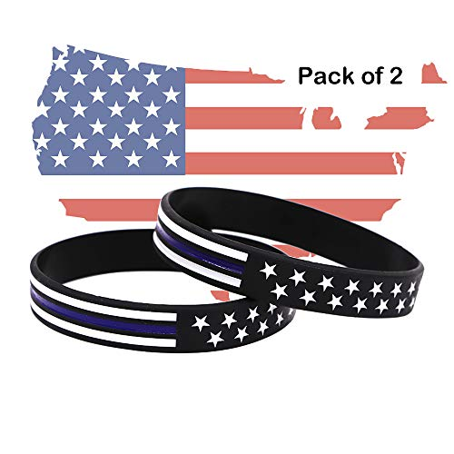 AVEC JOIE USA Rubber Wristbands Silicone Bracelet with American Flag in Black and Army Green for American Patriots, Army and Sport Fans ()