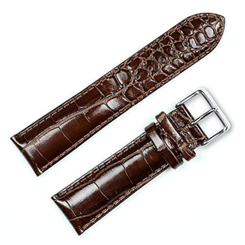 - Crocodile Grain Watchband (Chrono) Brown 18mm Long Watch Band - by deBeer