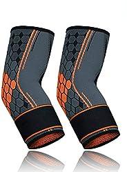 QRANSS Elbow brace Tennis Elbow Brace & Elbow Compression Sleeve-Adjustable Strap Arm Sleeve-Elastic &