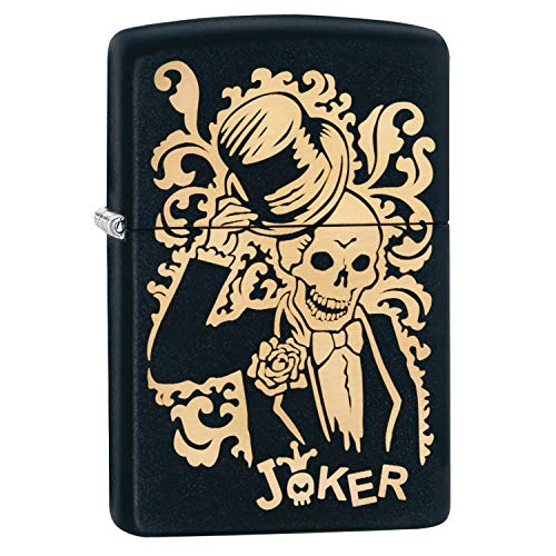 (Zippo Joker Laser Engraved Bronze Design Black Matte)