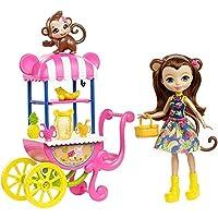 Enchantimals Coffret Stand de Fruits, Mini-poupée Merit Singe et Figurine Animale Compass avec véhicule et accessoires, jouet enfant, FCG93