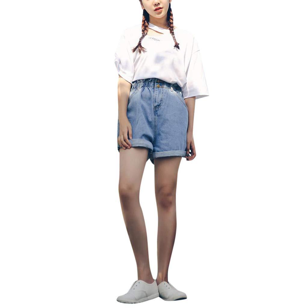 Ansenesna Shorts Damen Jeans High Waist Viskose Elegant Kurze Hose Frauen Einfarbig Vintage Denim Hosen Himmelblau cevQxWIr gut ausgebaut