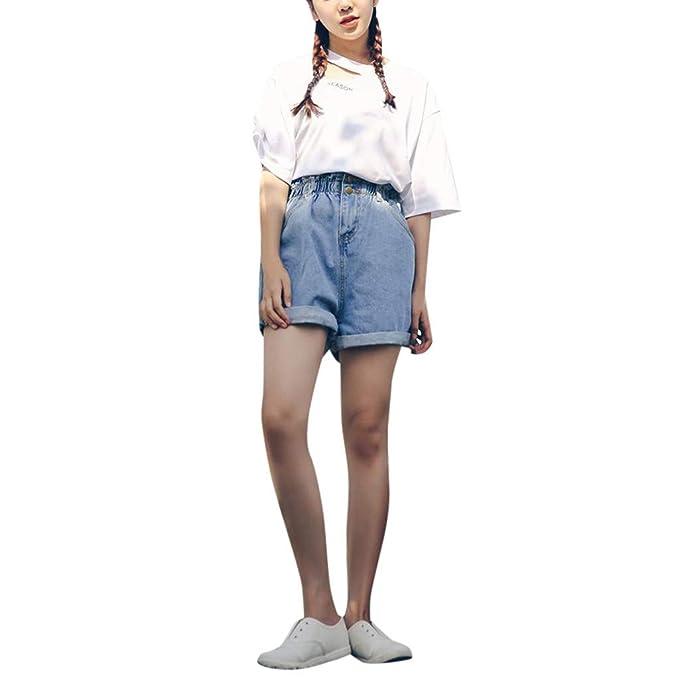 Pantalones Cortos para Mujer En Elástico Ancho Moda Chicas ...