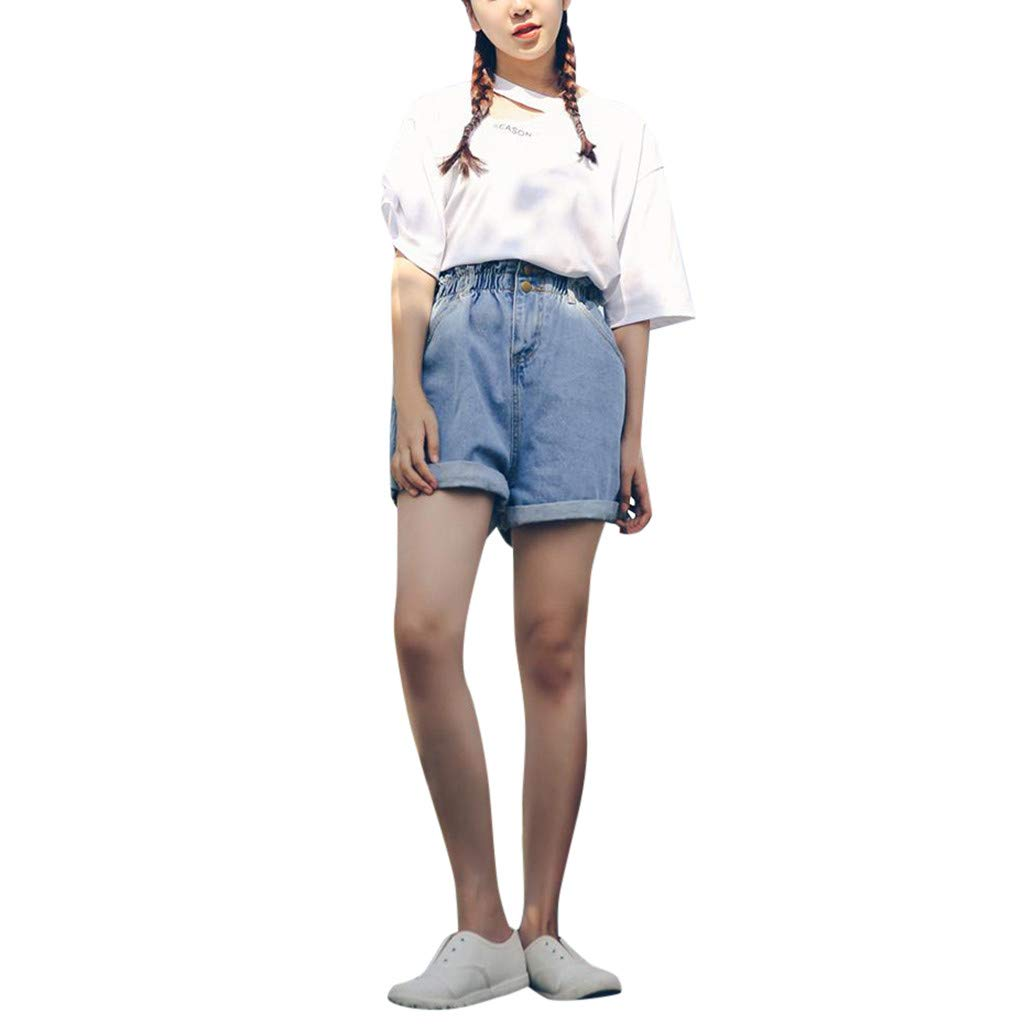 Ymibull Women Bud Pure Color Fresh Jeans Shorts Ladies Summer Leisure Loose Short Pants (Light Blue, S)