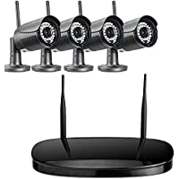 Titathink TT900WK 4CH Security Camera System, WiFi NVR kit, 4pcs 720P HD wireless IP66 cameras, 20M Night Vision, iOS/Android APP for remote viewing